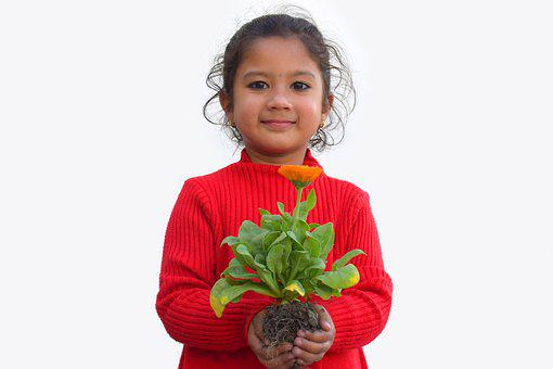 Smile, Plant Care, Child, Pretty, Beautiful, Cute