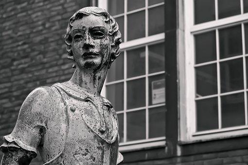 Sculpture, Art, Window, Statue, Old, Man, Architecture