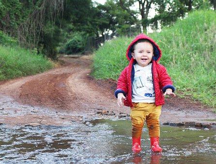 Child, Body Of Water, Outdoors, Nature, Rain, Fun