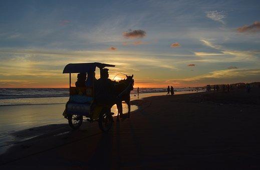 Silhouette, Sunset, Dusk, Beach