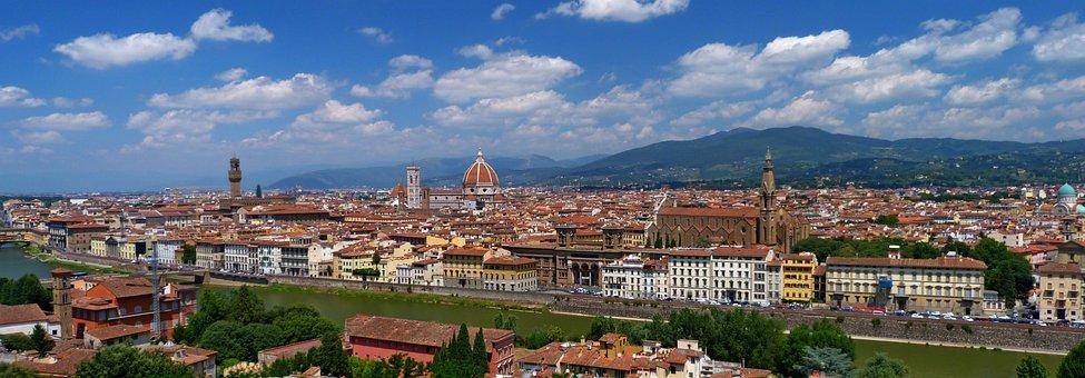 Panoramic, Panorama, Architecture, City, Florence