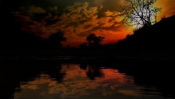 Sunset, Panoramic, Water, Landscape, Reflection, Dawn