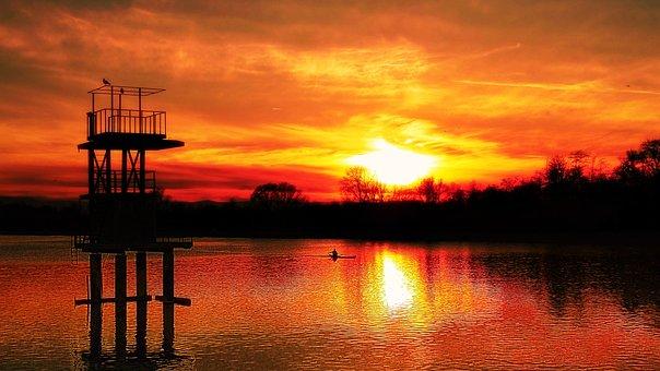 Sunset, Dawn, Water, Dusk, Evening, Plovdiv, Bulgaria
