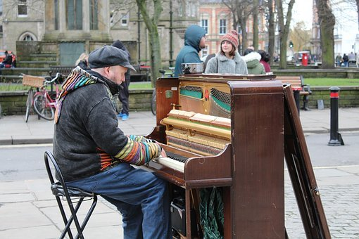 People, Adult, Man, City, Woman, Street, Music, Piano