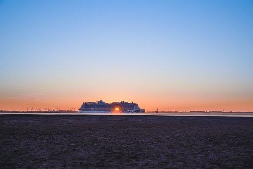 Sunset, Waters, Dawn, Sea, Sky, Ship, Aida, North Sea