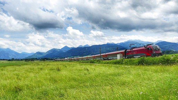Panorama, Nature, Grass, Landscape, Sky, Train, Railway