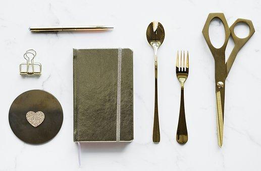 Scissors, Utensil, Tool, Steel, Fork, Background