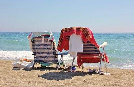 Beach, Sand, Ease, Chair, Sea, Summer, Coast, Tropical