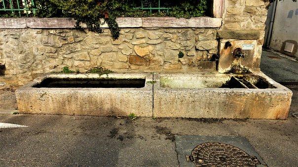 Architecture, Fountain, Water, Pierre, Old, No Person