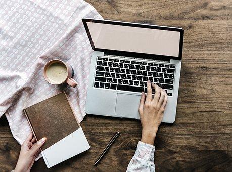 Paper, Laptop, Business, Aerial, Background, Beverage