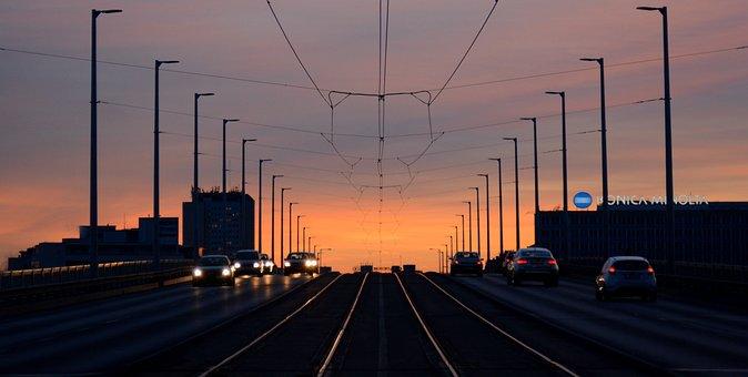 Transport, Cars, Sunset, Nightfall, Bridge, Autumn