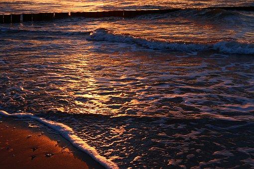 Waters, Sunset, Ocean, Coast, Sea, Beach