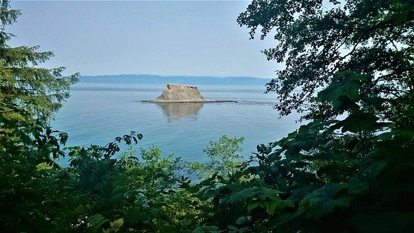 Ocean, Rock, Sea, Salt Water, Trees, Blue Sky