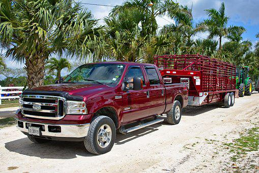 Pickup, Vehicle, Truck, Ford, Red, Trailer