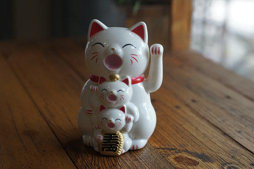 Wood, Wooden, Table, Decoration, Cat, Lucky Cat