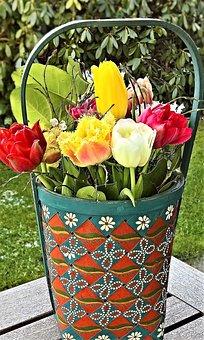 Flowers, Wood Basket, Tulip Bouquet, Spring