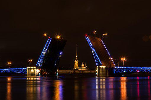 Bridge, Megalopolis, River, Water, Reflection, Twilight