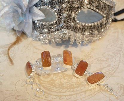 Calcite, Orange, Brown, Agate, Mask, Silver, Glower