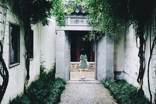 Suzhou, Garden, Garden Art, Door, Entrance, People
