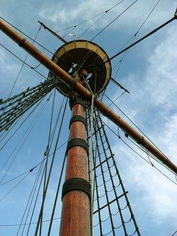 Mayflower, Mast, Ship, Sailboat, Crows Nest, Marine