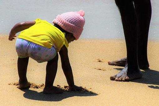 Child, Water, Ocean, Beach, People