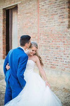 Wedding, Love, Blue Tux, White Dress, Groom, Marriage