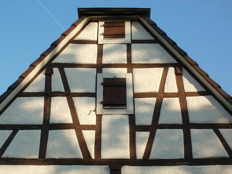 House, Gable, Pediment, Timber Framing, Schwetzingen