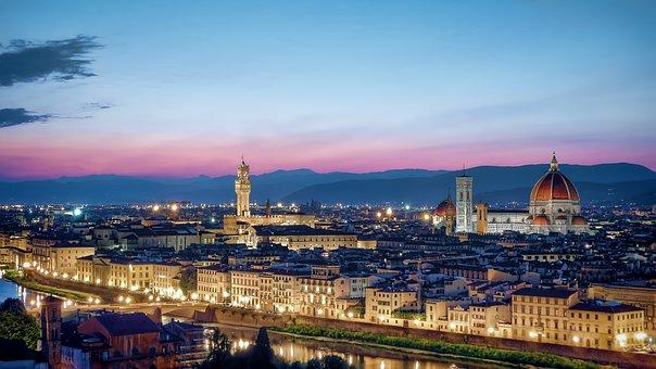 Florence, Skyline, Sunset, Cityscape, Tuscany