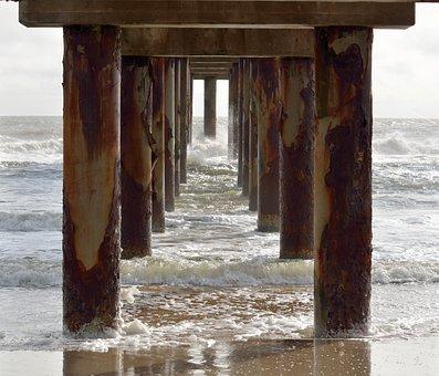 Under, Below, Fishing Pier, Pier, Wooden, Ocean, Sea
