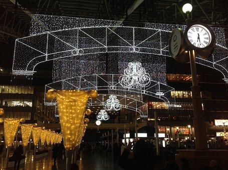 Oil Etc, Light, Osaka, Clock, Subway Station, Christmas