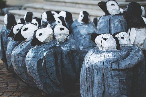 Arts Crafts, Group, Wood Craft, Together, Penguins