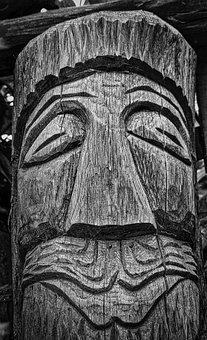 Totem, Wood, Face, Carving, Symbol, Tribal, Sculpture