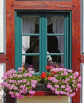 Flower, Geranium, Truss, Window Sill, Fachwerkhaus