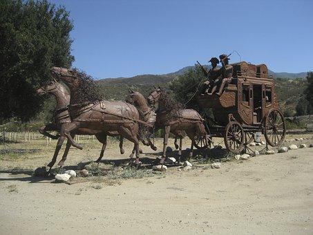 Horses, Rider, Wagon, Statue, Equestrian, Horseback