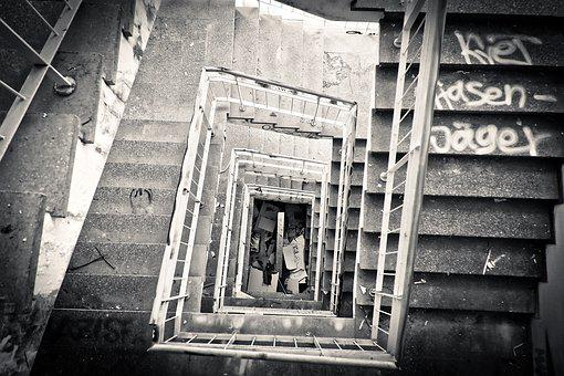 Lost Places, Staircase, Leave, Old, Stairs, Broken