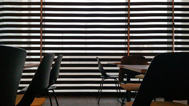 Restaurant, Interior, Eating, Silhouette, Background