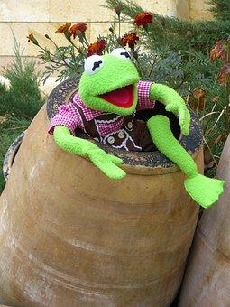 Kermit, Frog, Green, Barrel, Ton, Clay Pot, Joy, Fun