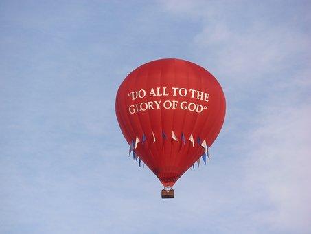 Hot Air Balloon, Glory Of God, Red Balloon, Sky