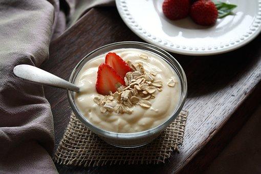 Yogurt, Fruit, Vanilla, Strawberries, Food, Healthy