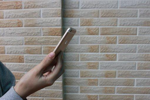 Iphone, 6, 6s, Hand, Phone, Girl, Apple, Wall, Ios