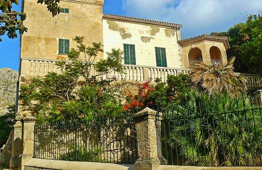Mallorca, Finca, Holiday, Fence, Wall, Palm Trees