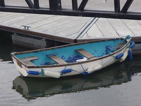 Boat, Dungarvan, Harbour, Row, Blue, Dock, Water