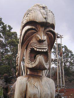 Hawaii, Totem, Wood, Image, Tribes, Skreem, Face, Figur