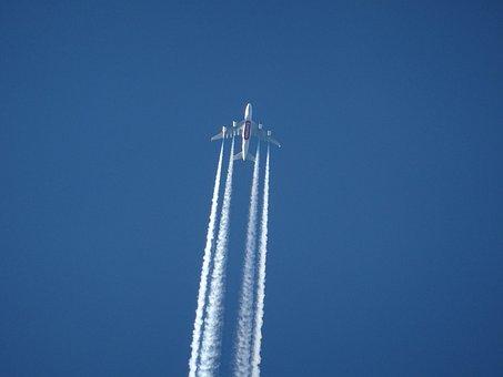 Aircraft, Contrail, Sky, Blue, Clear, Air, Atmosphere