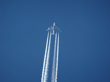 Aircraft, Contrail, Sky, Blue, Clear, Air, Atmosphere
