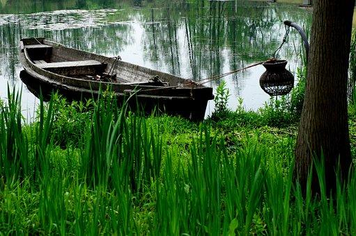Wetlands, Wooden Boat, Fishing, Autumn