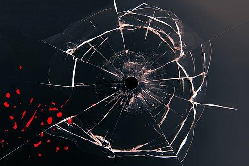 Glass, Bullet, Blood, Shot, Bullet Hole, Injury, Crime