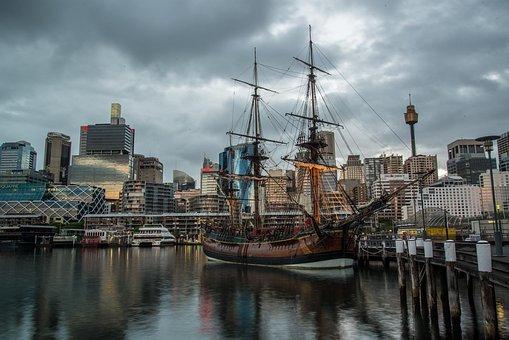 Darling Harbour, Sydney, Australia, Skyline, Tall Ship