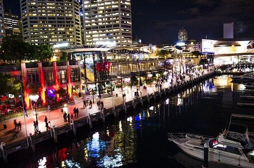 Darling Harbour, Sydney, Night Lights, Reflection