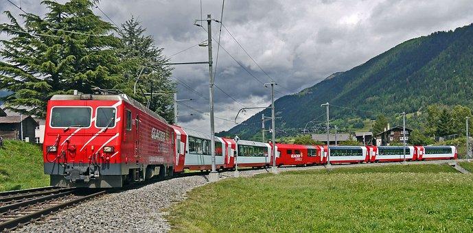 Glacier Express, Switzerland, Valais, Goms, Fiesch, Mgb